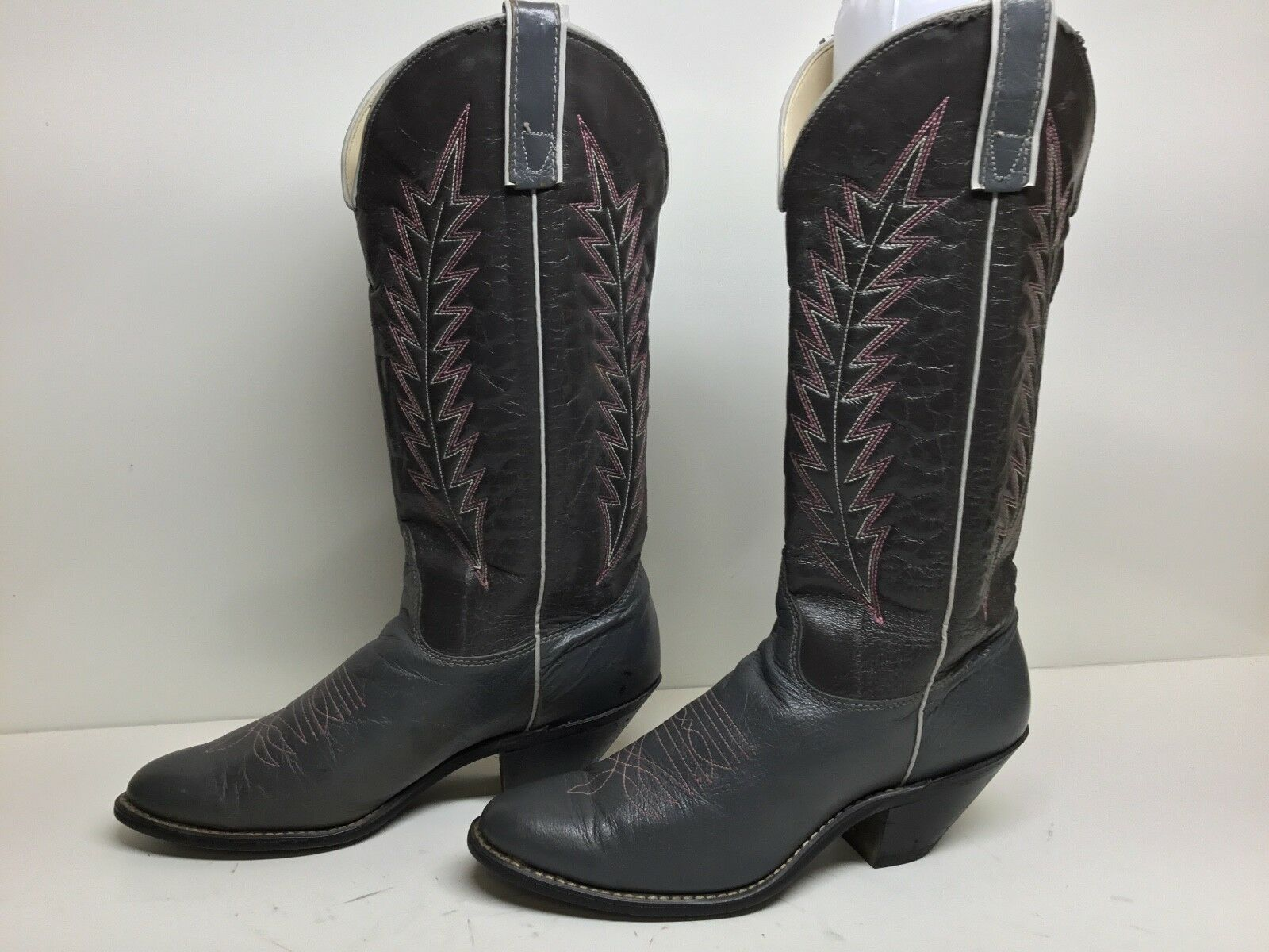 VTG GRAY WOMENS TEXAS COWBOY LEATHER GRAY VTG BOOTS SIZE 7.5 M 2bdd8f