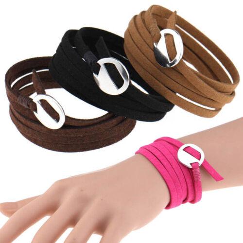 Men Women Charm Wristband Punk Multi Layers Jewelry Gift Bangle Handmade Wrap