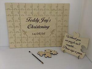 Personalizado Bautizo de Madera Jigsaw Puzzle Recuerdo Regalo del Libro de Visitas  </span>