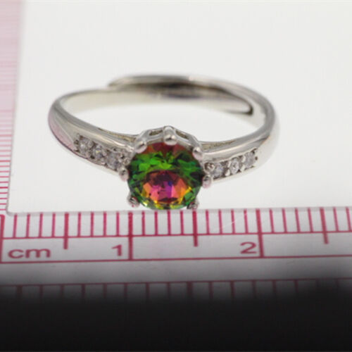 18K Rose Gold Filled 925 Silve Fashion Jewelry Lady Multicolor Crystal Rings A7