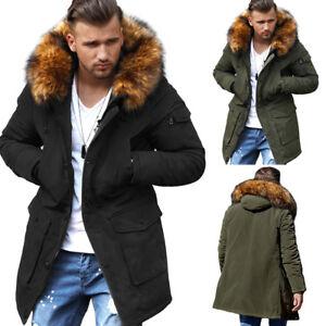 Behype-Uomo-Parka-cappotto-inverno-Giacca-lunga-arte-pelliccia-nero-cachi-NUOVO