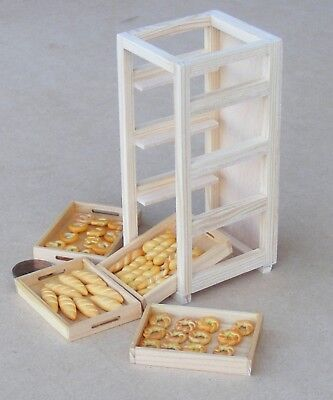 1:12 Scale Full Wooden Bakers Tray Rack Tumdee Dolls House Miniature Accessory B