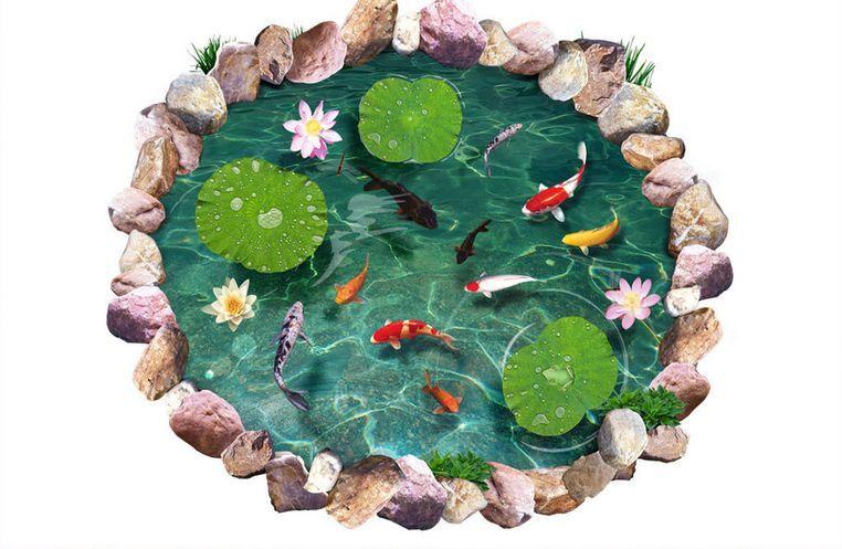 3D Lotus Stones Goldfish Floor WallPaper Murals Wall Print Decal 5D AJ WALLPAPER