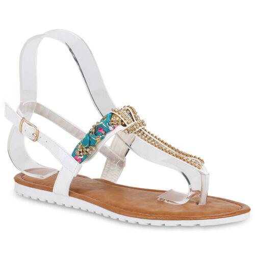895984 Damen Sandalen Zehentrenner Sommer Schuhe Mode