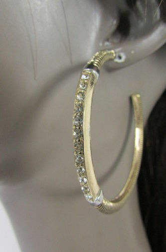 New Women Antique Gold Fashion Earrings Large Hoop Hook Metal Rhinestones