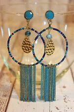 Ohrstecker NEU Ohrringe gold groß blau aquar ethno Hippie Boho Nickel Frei XL