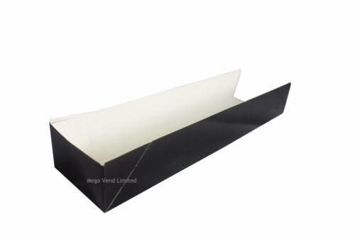 Black Disposable Takeaway Cardboard Open Ended Hot Dog Tray Wrap Food Packaging