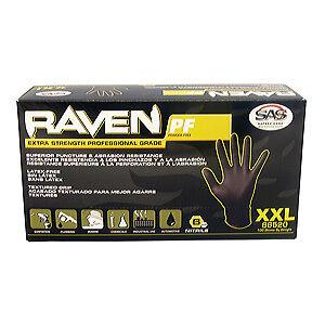 SAS 66519 Raven Powder Free Nitrile Gloves X-Large 5 Boxes - 100 Per Box