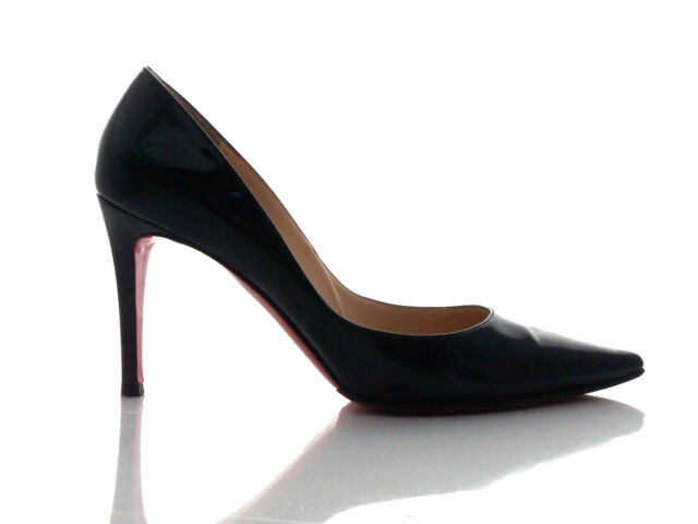 ★ CHRISTIAN LOUBOUTIN Decoltissimo 85 Heels Size 40 Black Patent Leather Shoes