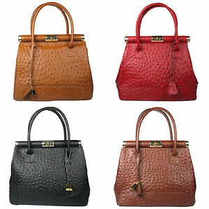 36a8ddd4d26 Details about Genuine Italian Leather Ostrich Print Ladies New Doctor Bag  Made In Italy