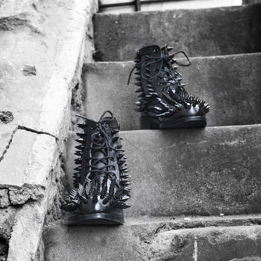 ByTheR Men's Punk Rock Duro Glam Metal Negro quisquilloso botas De Cuero Tachonado au
