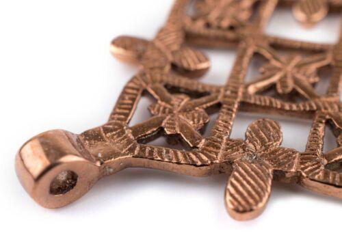 Metu Copper Coptic Cross Pendant 53x70mm Ethiopia African Large Hole Handmade