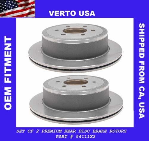 Disc Brake Rotor 6 Lug Rear Pair Set for Ford F150 Lincoln Mark LT Verto USA