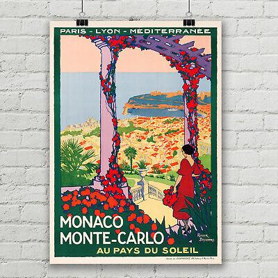 Monaco Monte-Carlo Vintage Travel Poster PLM Rail Line Canvas Art Print