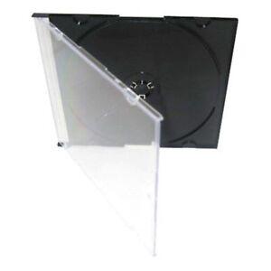 50-x-Slim-Slimline-CD-SINGLE-ecrin-cas-plateau-noir-haute-qualite-uk-stock