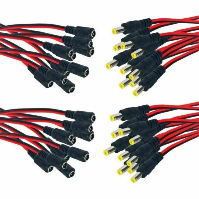 20 x 12V DC Power Pigtail Male Female 2.1mm Cable Plug Wire CCTV Security Camera