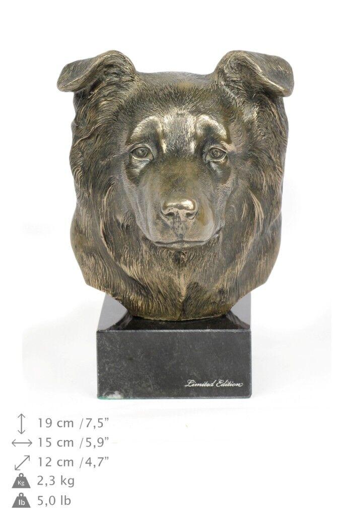 Collie fronterizo, estatua de mármol   busto de perro ArtDog ES