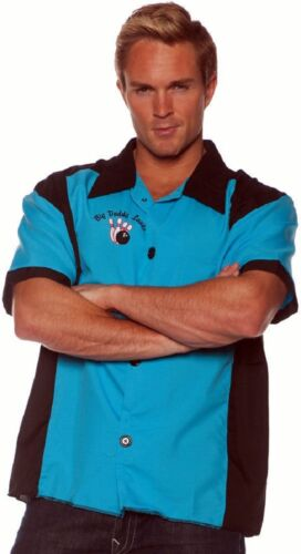 Nifty 1950s 50s Retro Bowling Shirt Turquoise Black Men/'s Adult Sizes STD-XXL