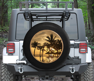 14 15 16 17 SUV Truck and Many Vehicle Rv Trailer MSGUIDE Spare Tire Cover Sunrise at The Ocean Wheel Tire Covers Fit for Jeep