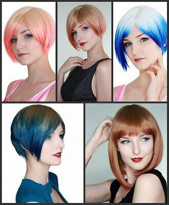 PüNktlich Tie Dye Glatt Bob-schnitt Kurz-haar Perücke Farbverlauf Ombre Alltag Chic Wig Rabatte Verkauf
