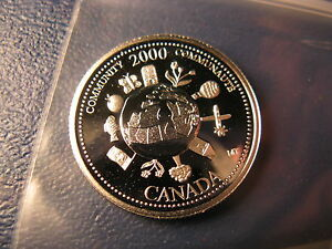 Canada-2000-Community-Theme-Mint-Silver-25-Cent-Coin-Celebrating-New-Millennium