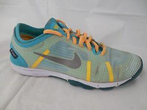 NIKE Womens 6 M Lunarelement Running Shoes Teal Yellow Blue 615743 300 Training