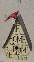 Bird House Home Sweet Home Wood And Metal