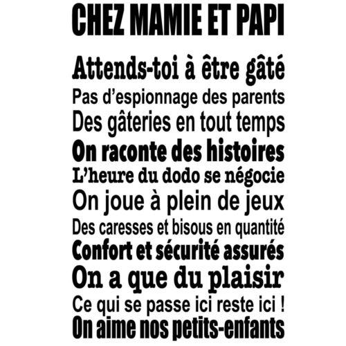 """50x30cm à 100x60cm Sticker Mural Texte /""""Chez Mamie et Papi,.../"""" TEX013"""