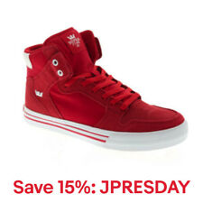 Supra Vaider 08044-655-M Mens Red High Top Lace Up Athletic Surf Skate Shoes