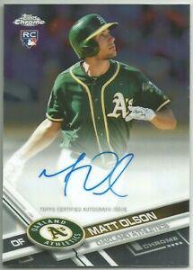 Matt-Olson-Oakland-A-039-s-2017-Topps-Chrome-Baseball-RC-Rookie-Auto-signed-on-card