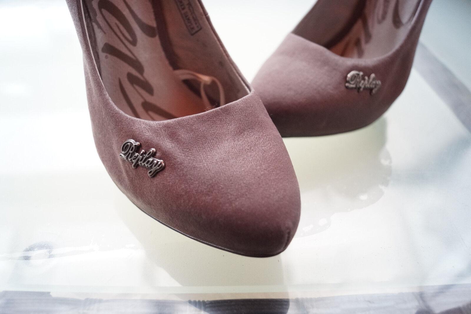 Sexy REPLAY Damen Abendschuhe Schuhe High Heels Pumps Abendschuhe Damen glanz Gr.37 dunkelgrau NEU 0fd117