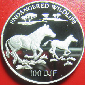 1994-DJIBOUTI-100-FRANCS-93oz-SILVER-PROOF-GREVY-ZEBRA-ENDANGERED-WILDLIFE-RARE