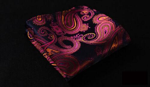 US078 Men Gorgeous Paisley Silk Neck Tie Handkerchief Pocket Square Set Lot
