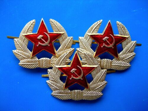 Set of 3 USSR Soviet Red Star Badge Military Cocarde Army.