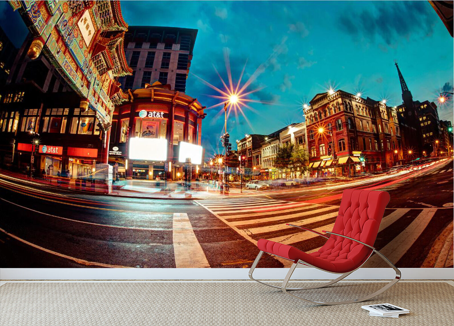 3D City Street Night Scenery Paper Wall Print Wall Decal Wall Deco Indoor Murals