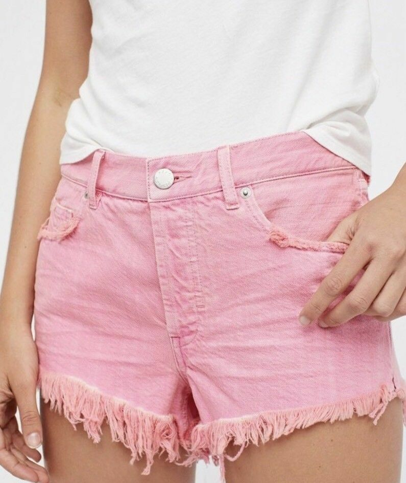 NWT FREE PEOPLE Sz29 WE THE FREE SOFT & RELAXED CUT OFF COTTON SHORT PINK