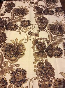 Brown Flowers Floral Design Fabric Shower Curtain Ivory