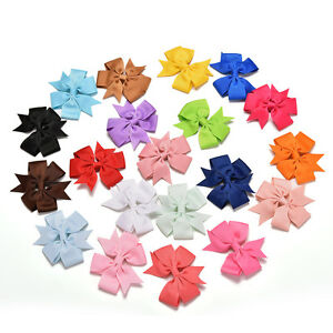 20Pcs-Baby-Girls-Boutique-Big-Bow-Hair-Clips-Grosgrain-Ribbon-Hairpin-J-SE