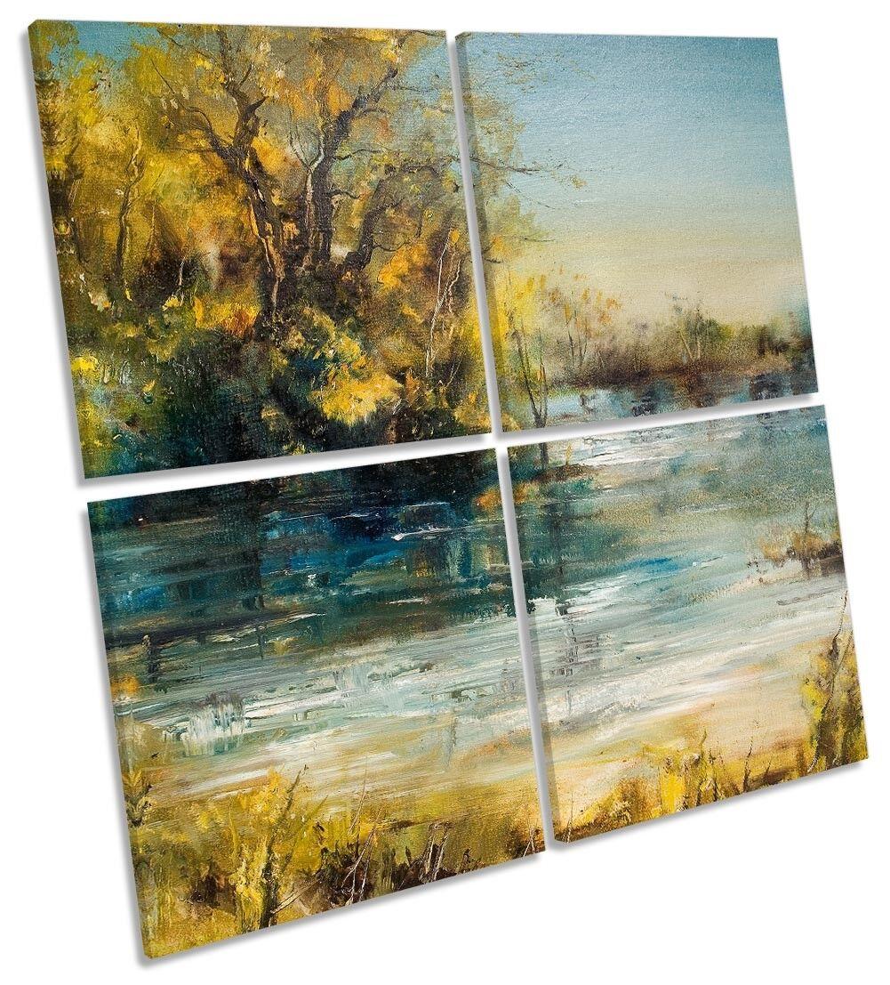 Gelb Landscape Repro River MULTI CANVAS WALL ARTWORK Square Art