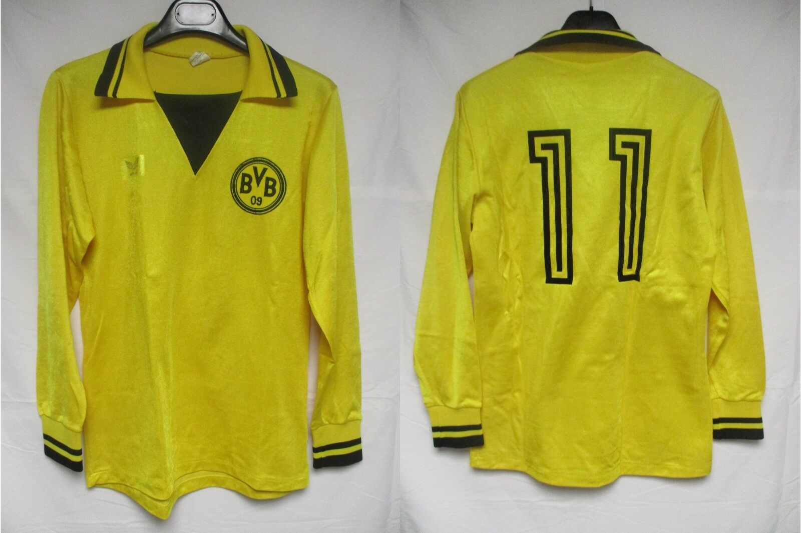 Maillot BVB BORUSSIA DORTMUND Erima n°11 trikot oldschool shirt 1980 LS rare M