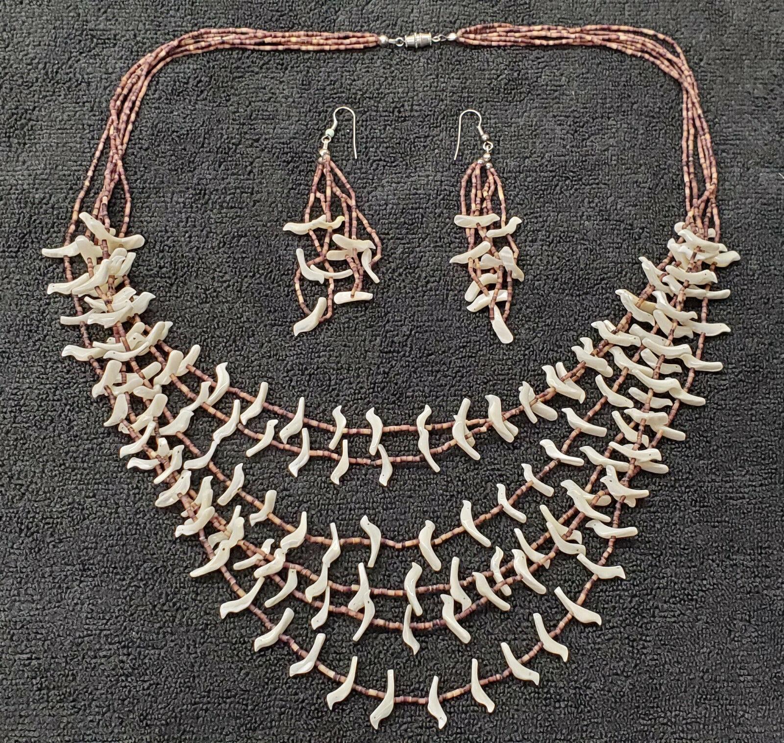 Vintage nativo americano joyas Zuni Fetiche De Concha De Perla Collar Aretes Aves
