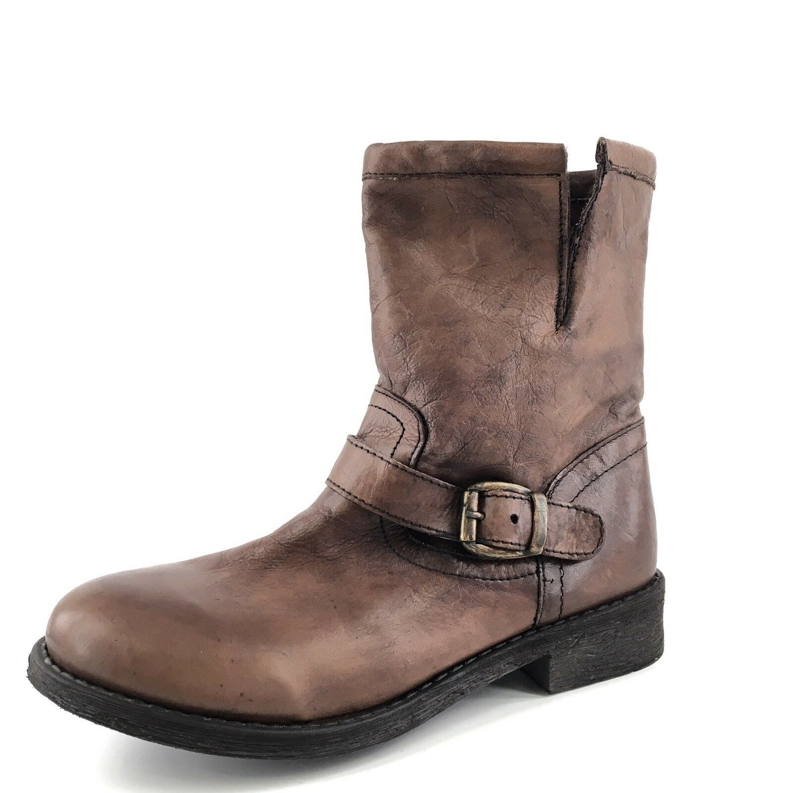 Zigisoho Tequila Brown Leather Short Ankle  Boots Women's Size 6.5 M*