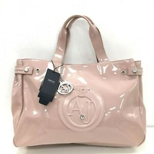 NEW-ARMANI-JEANS-Dusky-Pink-Tote-Bag-Patent-Women-039-s-Trendy-Size-Large-501764