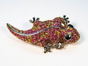 3-69-CTW-RUBY-amp-SAPPHIRE-GECKO-BROOCH-14k-TWO-TONE-GOLD-plated-925-SILVER