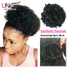1pc Kinky Curly Synthetic Hair Drawstring Ponytail with Clip Black Free Shipping