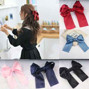 Vintage Hairpin 1PC Hair Girls Women Clamp Bow Spring Large Barrette Ribbon Clip