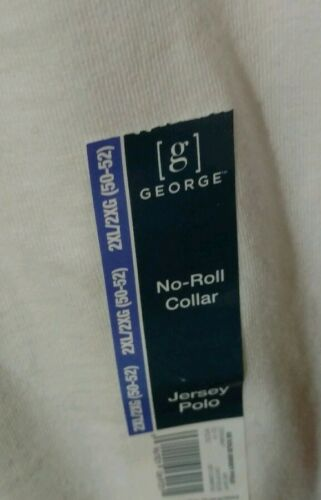 ~ NWT Details about  /Men/'s George White 100/% Cotton Jersey Polo Shirt ~ Size 2XL 50-52