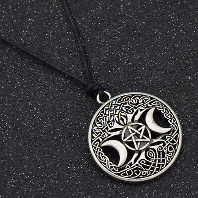 Vintage Triple Moon Pentacle Pattern Magic Goddess Tree Of Life Necklace Pendant