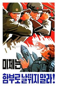 North KOREA Anti-American Propaganda Poster Print AGRICULTURE A3 #D072