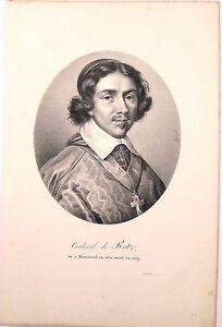 Lithographie-de-Ducarme-Portrait-du-Cardinal-de-Retz